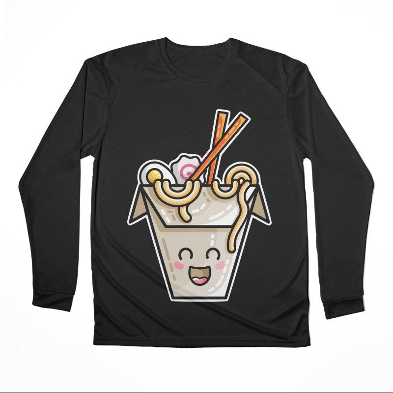 Kawaii Cute Ramen Noodles Takeaway Box Men's Performance Longsleeve T-Shirt by Flaming Imp's Artist Shop