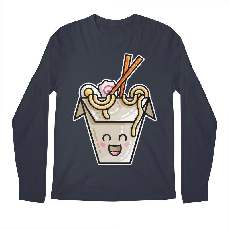 Kawaii Cute Ramen Noodles Takeaway Box Men's Regular Longsleeve T-Shirt by Flaming Imp's Artist Shop