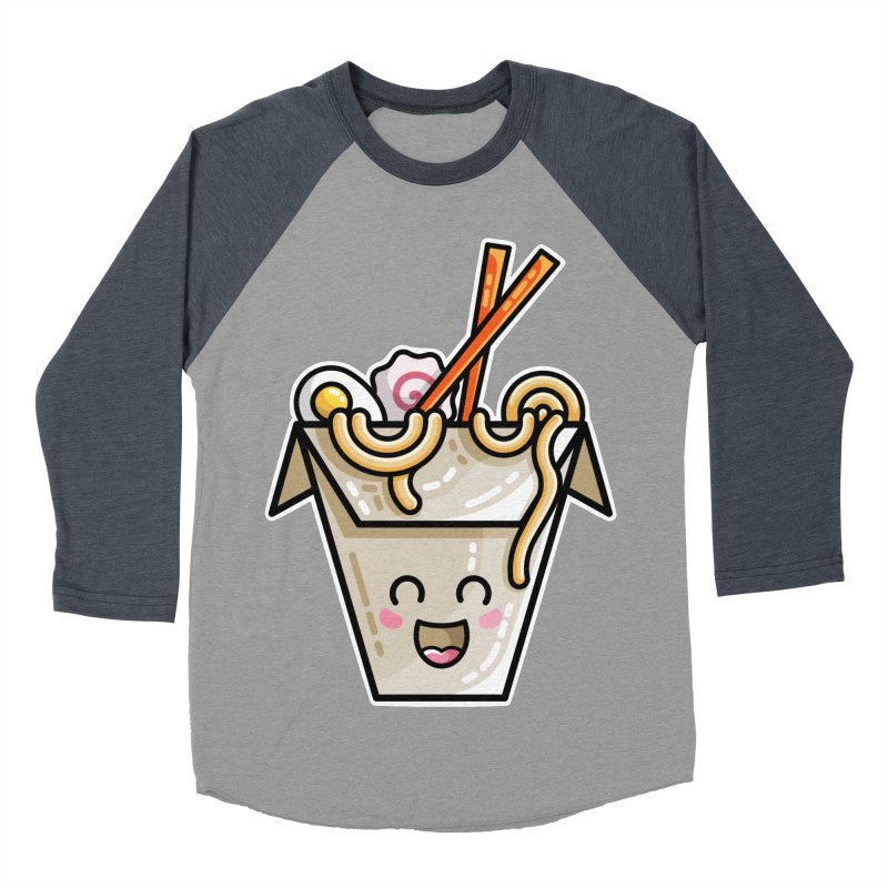 Kawaii Cute Ramen Noodles Takeaway Box Women's Baseball Triblend Longsleeve T-Shirt by Flaming Imp's Artist Shop