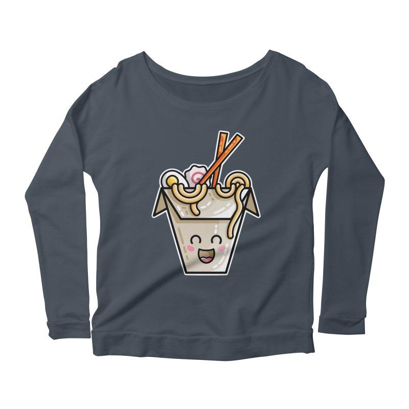 Kawaii Cute Ramen Noodles Takeaway Box Women's Scoop Neck Longsleeve T-Shirt by Flaming Imp's Artist Shop