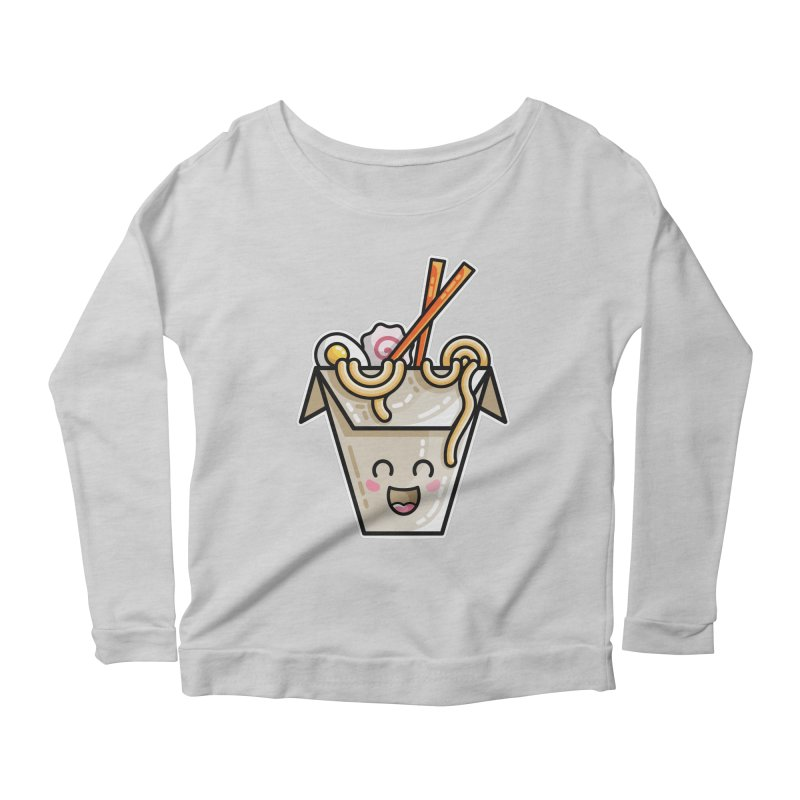 Kawaii Cute Ramen Noodles Takeaway Box Women's Scoop Neck Longsleeve T-Shirt by Flaming Imp's Artist Shop