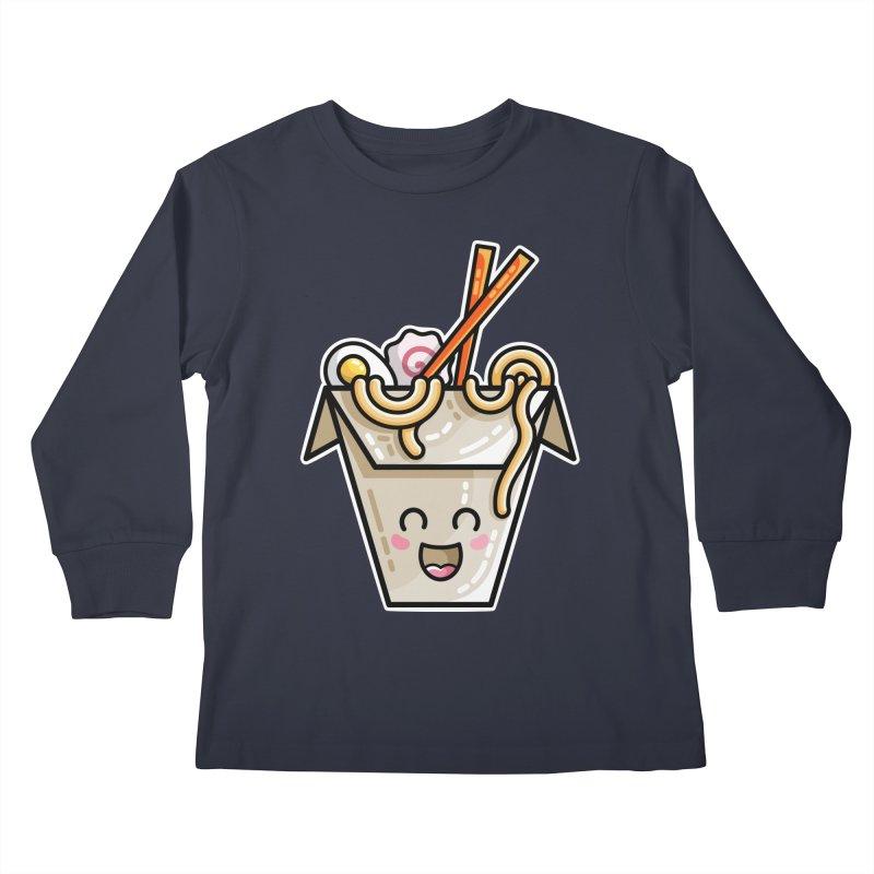 Kawaii Cute Ramen Noodles Takeaway Box Kids Longsleeve T-Shirt by Flaming Imp's Artist Shop