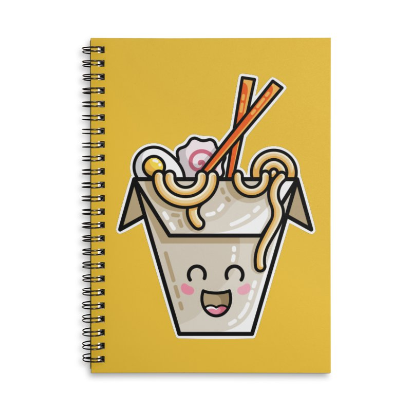 Kawaii Cute Ramen Noodles Takeaway Box Accessories Lined Spiral Notebook by Flaming Imp's Artist Shop