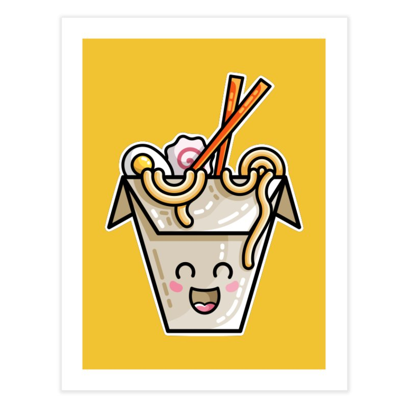 Kawaii Cute Ramen Noodles Takeaway Box Home Fine Art Print by Flaming Imp's Artist Shop