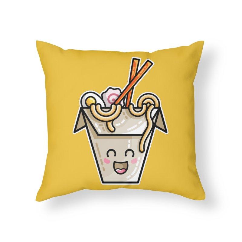 Kawaii Cute Ramen Noodles Takeaway Box Home Throw Pillow by Flaming Imp's Artist Shop