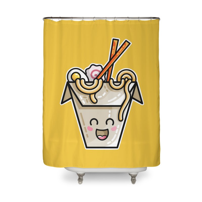 Kawaii Cute Ramen Noodles Takeaway Box Home Shower Curtain by Flaming Imp's Artist Shop