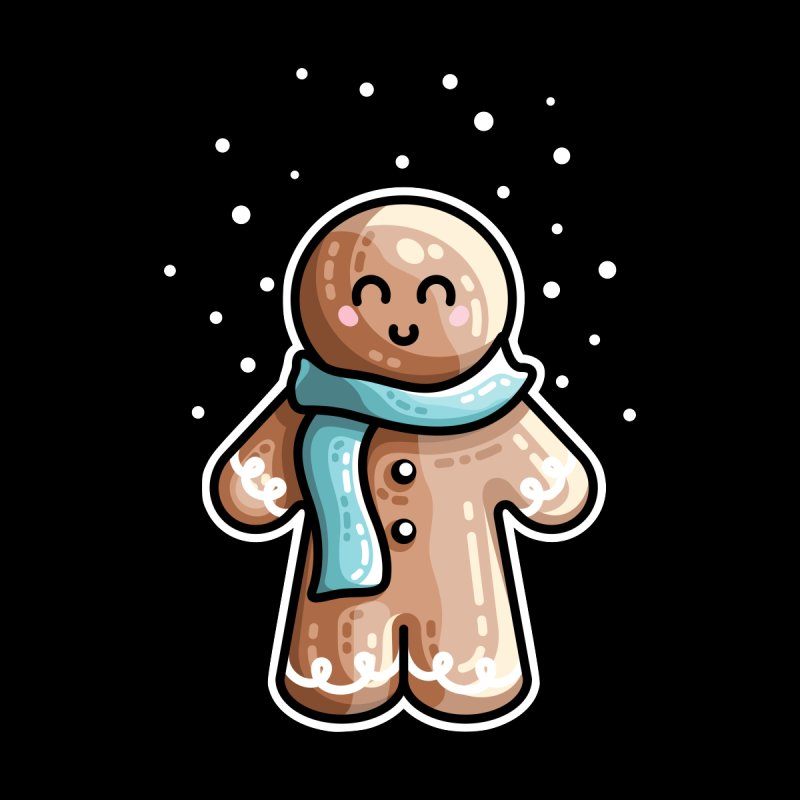 Kawaii Cute Gingerbread Person Kids Longsleeve T-Shirt by Flaming Imp's Artist Shop