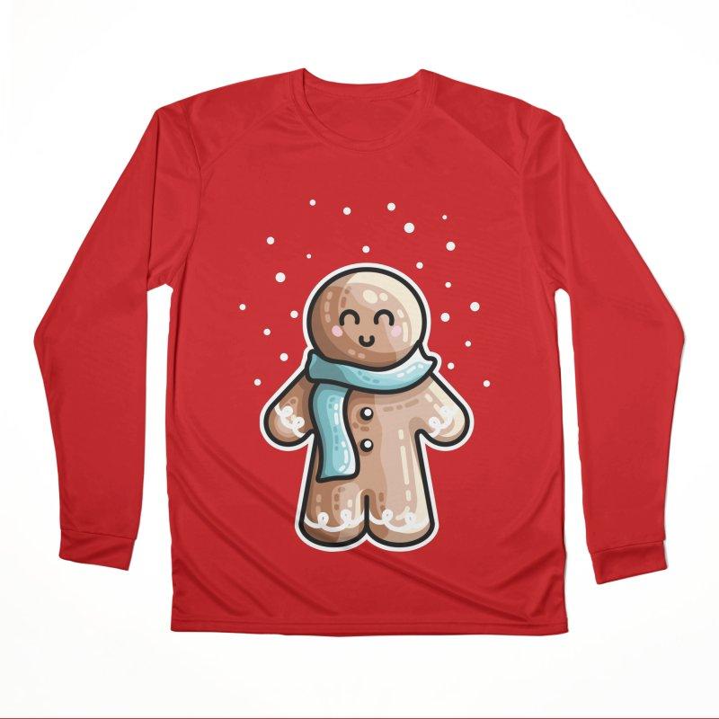Kawaii Cute Gingerbread Person Women's Performance Unisex Longsleeve T-Shirt by Flaming Imp's Artist Shop
