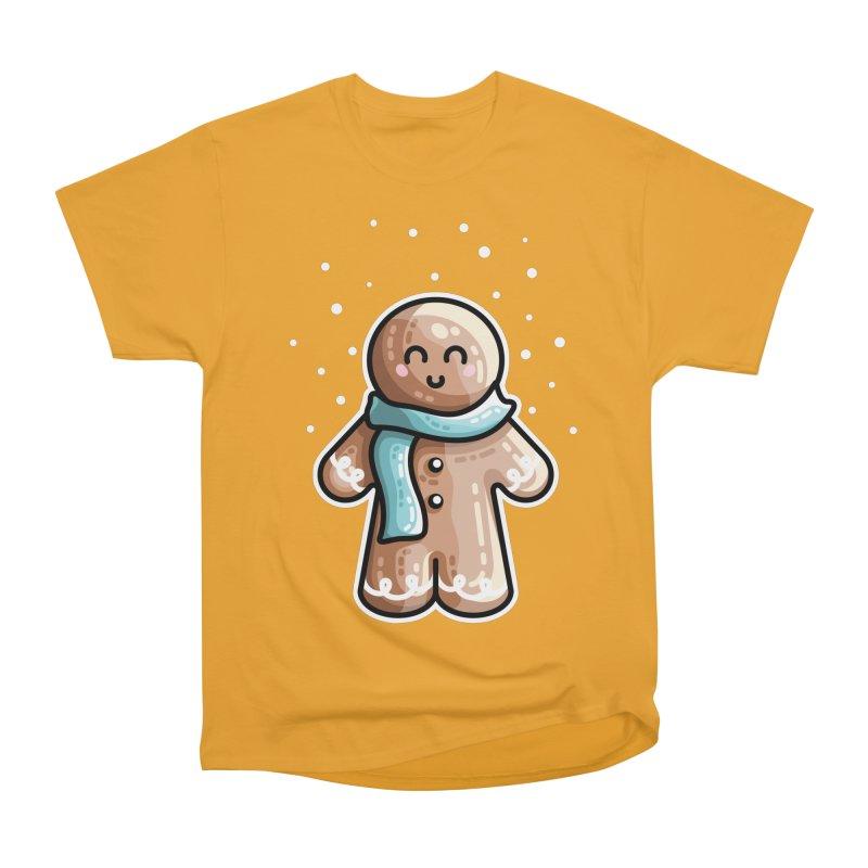 Kawaii Cute Gingerbread Person Women's Heavyweight Unisex T-Shirt by Flaming Imp's Artist Shop