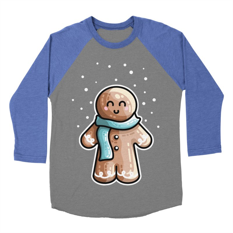 Kawaii Cute Gingerbread Person Women's Baseball Triblend Longsleeve T-Shirt by Flaming Imp's Artist Shop