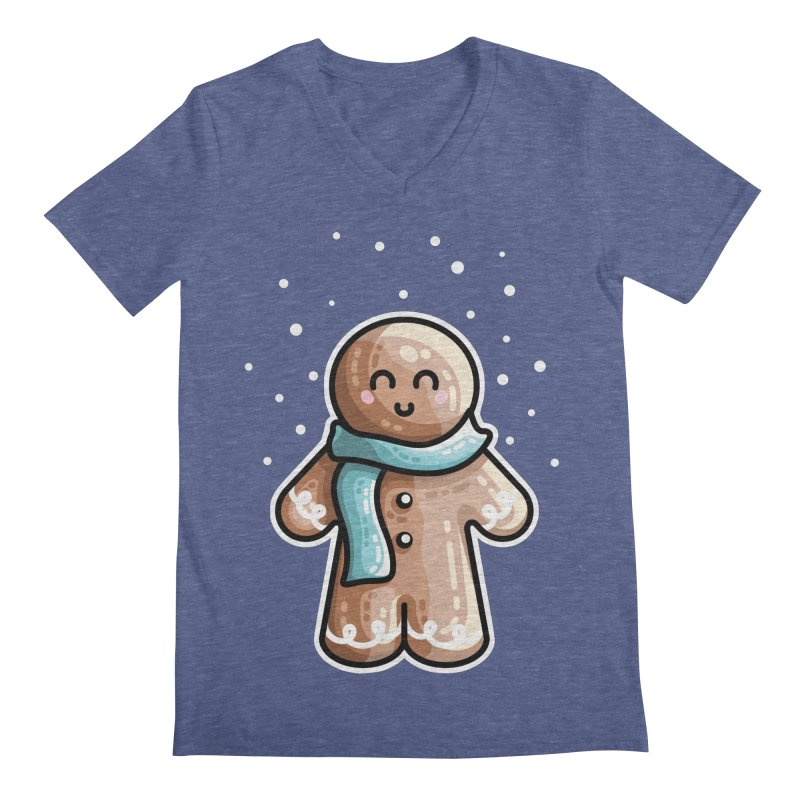 Kawaii Cute Gingerbread Person Men's Regular V-Neck by Flaming Imp's Artist Shop