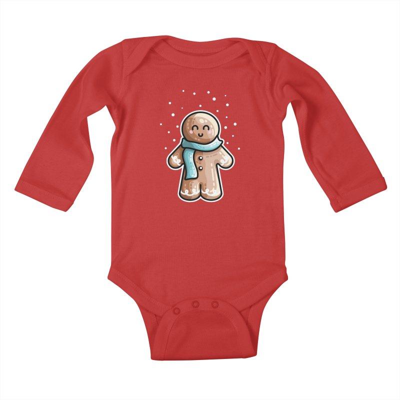 Kawaii Cute Gingerbread Person Kids Baby Longsleeve Bodysuit by Flaming Imp's Artist Shop