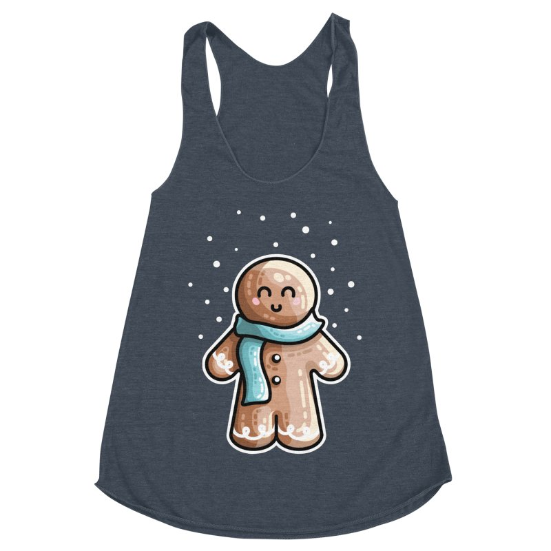 Kawaii Cute Gingerbread Person Women's Racerback Triblend Tank by Flaming Imp's Artist Shop