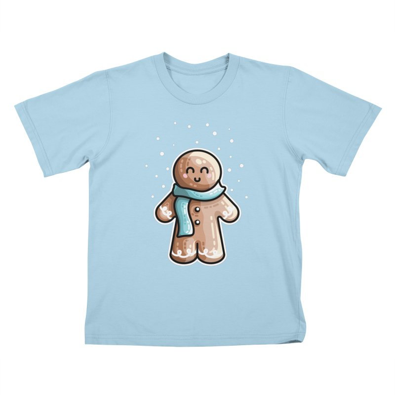 Kawaii Cute Gingerbread Person Kids T-Shirt by Flaming Imp's Artist Shop