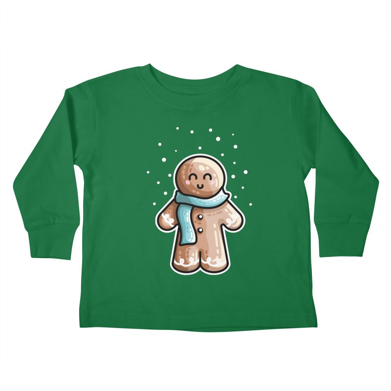 Kawaii Cute Gingerbread Person Kids Toddler Longsleeve T-Shirt by Flaming Imp's Artist Shop