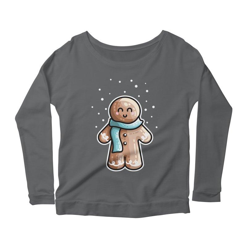 Kawaii Cute Gingerbread Person Women's Scoop Neck Longsleeve T-Shirt by Flaming Imp's Artist Shop