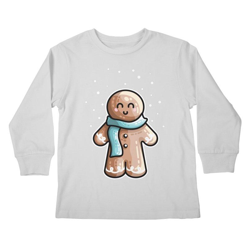 Kawaii Cute Gingerbread Person Kids Longsleeve T-Shirt by Flaming Imp's Artist Shop