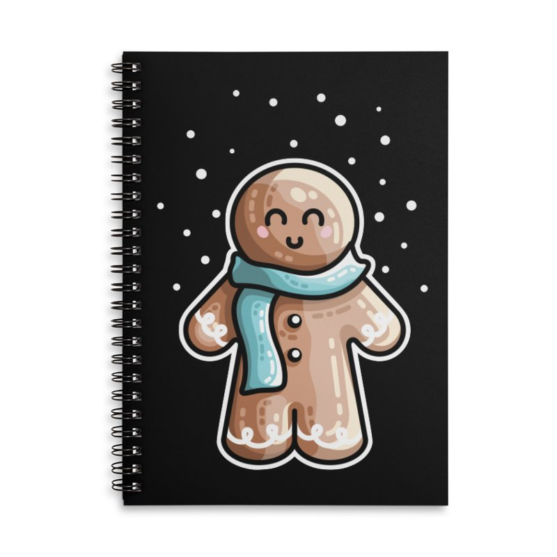 Kawaii Cute Gingerbread Person Accessories Lined Spiral Notebook by Flaming Imp's Artist Shop