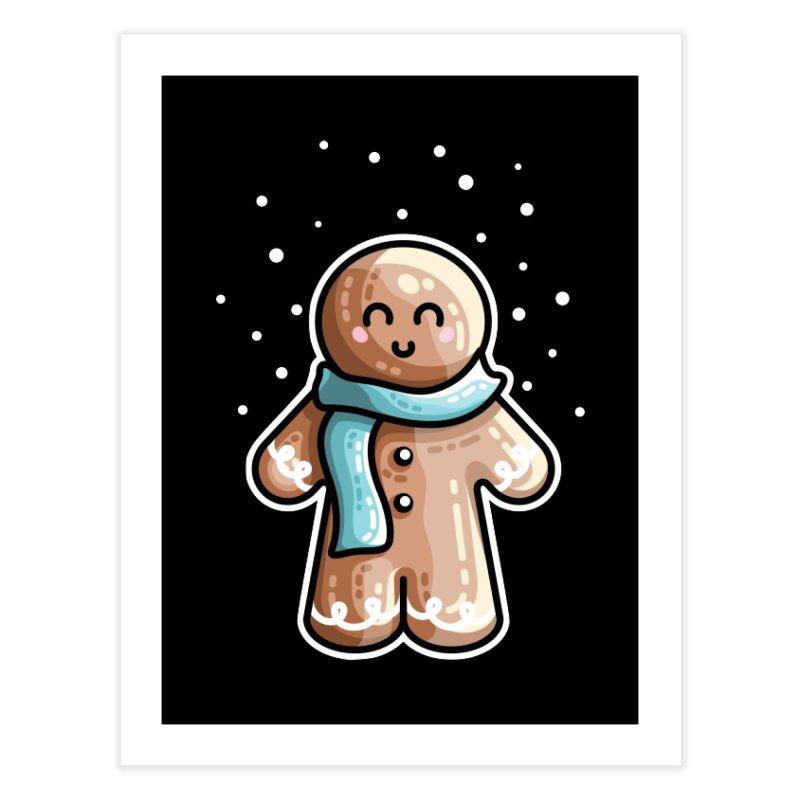 Kawaii Cute Gingerbread Person Home Fine Art Print by Flaming Imp's Artist Shop