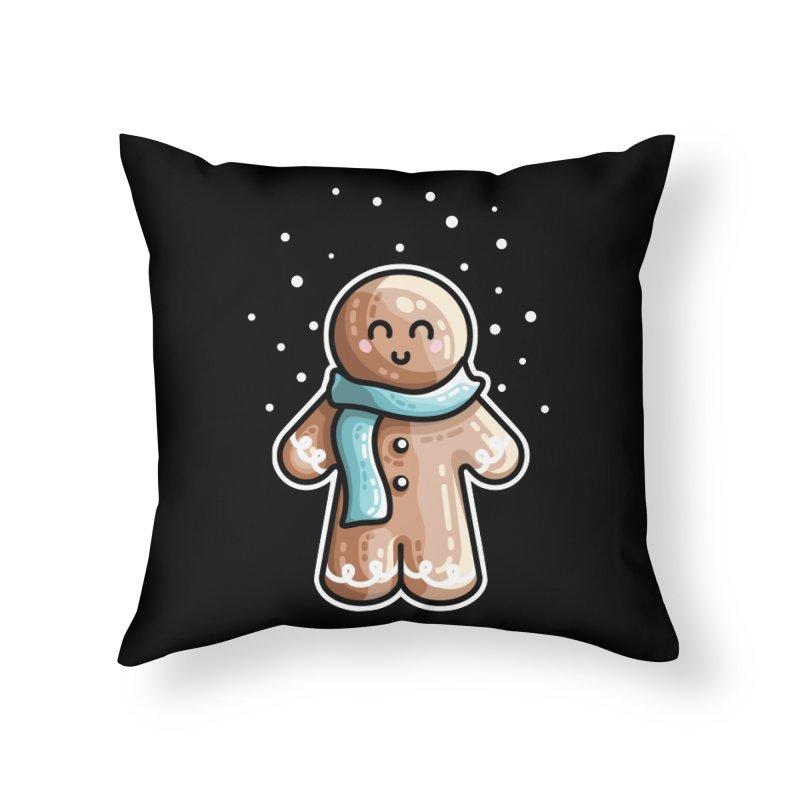 Kawaii Cute Gingerbread Person Home Throw Pillow by Flaming Imp's Artist Shop