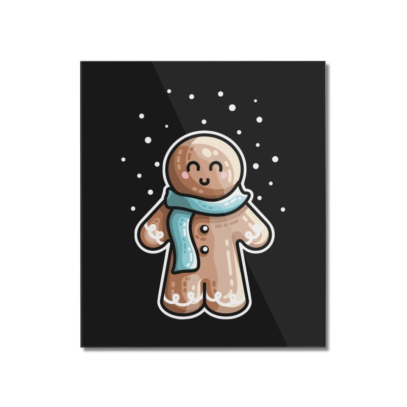 Kawaii Cute Gingerbread Person Home Mounted Acrylic Print by Flaming Imp's Artist Shop