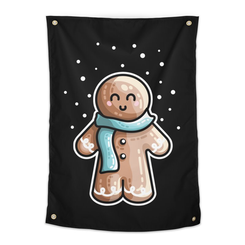 Kawaii Cute Gingerbread Person Home Tapestry by Flaming Imp's Artist Shop