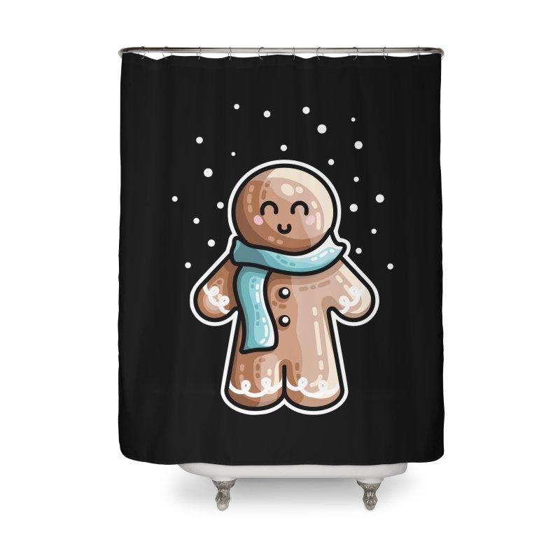 Kawaii Cute Gingerbread Person Home Shower Curtain by Flaming Imp's Artist Shop