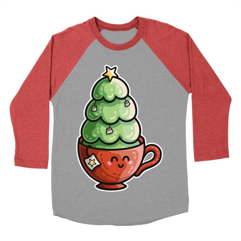 Christmas Tea Pun Men's Baseball Triblend Longsleeve T-Shirt by Flaming Imp's Artist Shop