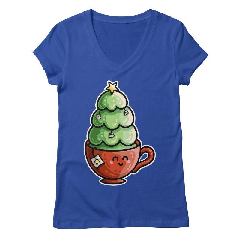 Christmas Tea Pun Women's Regular V-Neck by Flaming Imp's Artist Shop