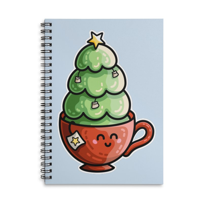 Christmas Tea Pun Accessories Lined Spiral Notebook by Flaming Imp's Artist Shop