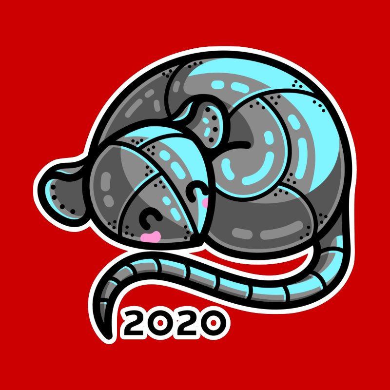 Kawaii Cute Curled Metal Rat 2020 Women's Longsleeve T-Shirt by Flaming Imp's Artist Shop