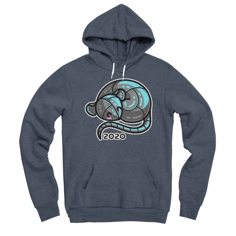Kawaii Cute Curled Metal Rat 2020 Men's Sponge Fleece Pullover Hoody by Flaming Imp's Artist Shop