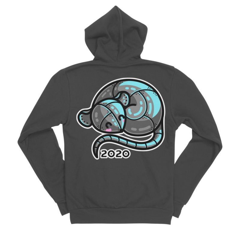 Kawaii Cute Curled Metal Rat 2020 Men's Sponge Fleece Zip-Up Hoody by Flaming Imp's Artist Shop