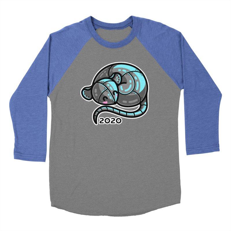 Kawaii Cute Curled Metal Rat 2020 Women's Baseball Triblend Longsleeve T-Shirt by Flaming Imp's Artist Shop