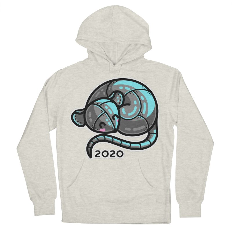 Kawaii Cute Curled Metal Rat 2020 Men's French Terry Pullover Hoody by Flaming Imp's Artist Shop