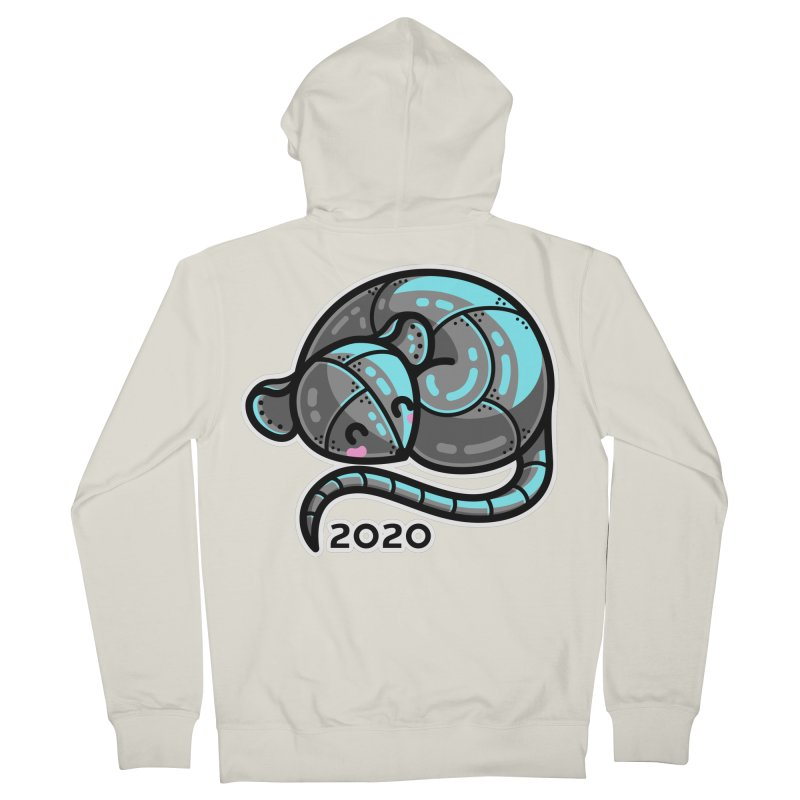 Kawaii Cute Curled Metal Rat 2020 Men's French Terry Zip-Up Hoody by Flaming Imp's Artist Shop