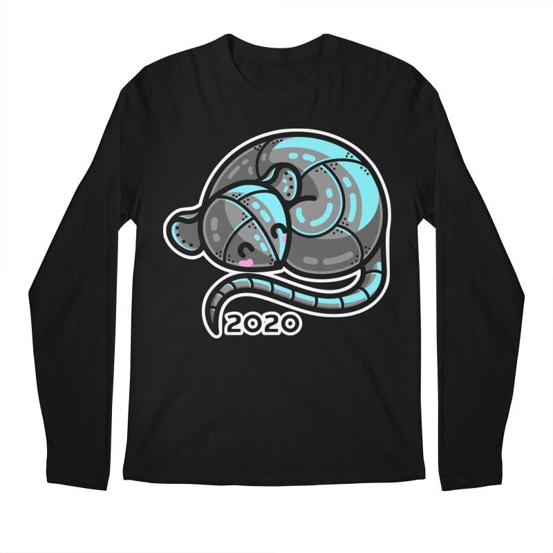 Kawaii Cute Curled Metal Rat 2020 Men's Regular Longsleeve T-Shirt by Flaming Imp's Artist Shop