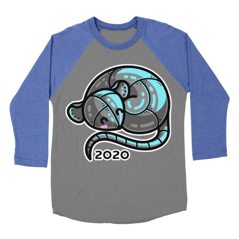 Kawaii Cute Curled Metal Rat 2020 Women's Baseball Triblend Longsleeve T-Shirt by Flaming Imp's Artist Shop