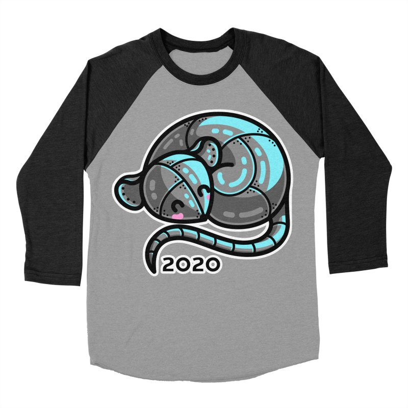 Kawaii Cute Curled Metal Rat 2020 Men's Baseball Triblend Longsleeve T-Shirt by Flaming Imp's Artist Shop
