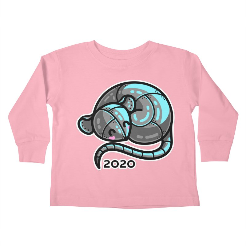 Kawaii Cute Curled Metal Rat 2020 Kids Toddler Longsleeve T-Shirt by Flaming Imp's Artist Shop