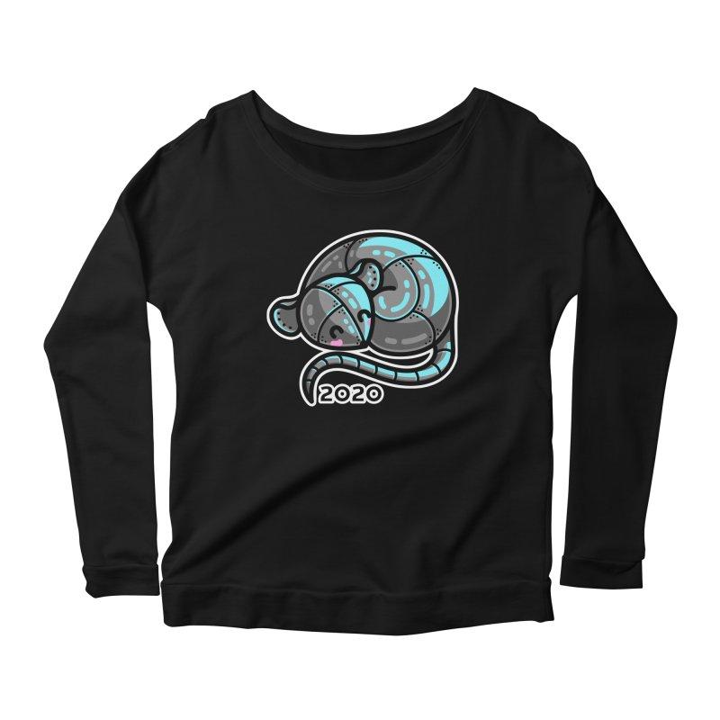 Kawaii Cute Curled Metal Rat 2020 Women's Scoop Neck Longsleeve T-Shirt by Flaming Imp's Artist Shop
