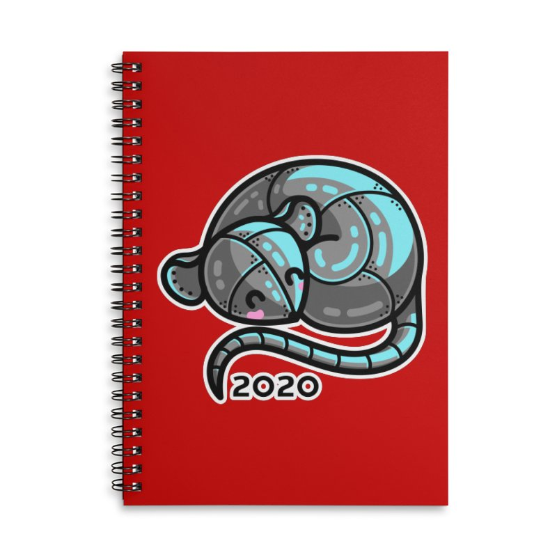 Kawaii Cute Curled Metal Rat 2020 Accessories Lined Spiral Notebook by Flaming Imp's Artist Shop