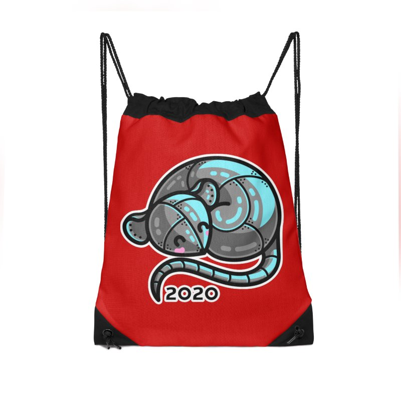 Kawaii Cute Curled Metal Rat 2020 Accessories Drawstring Bag Bag by Flaming Imp's Artist Shop