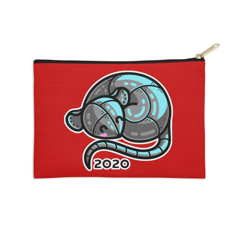 Kawaii Cute Curled Metal Rat 2020 Accessories Zip Pouch by Flaming Imp's Artist Shop