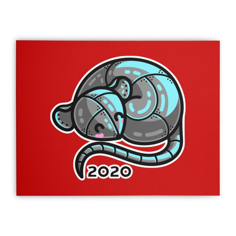 Kawaii Cute Curled Metal Rat 2020 Home Stretched Canvas by Flaming Imp's Artist Shop