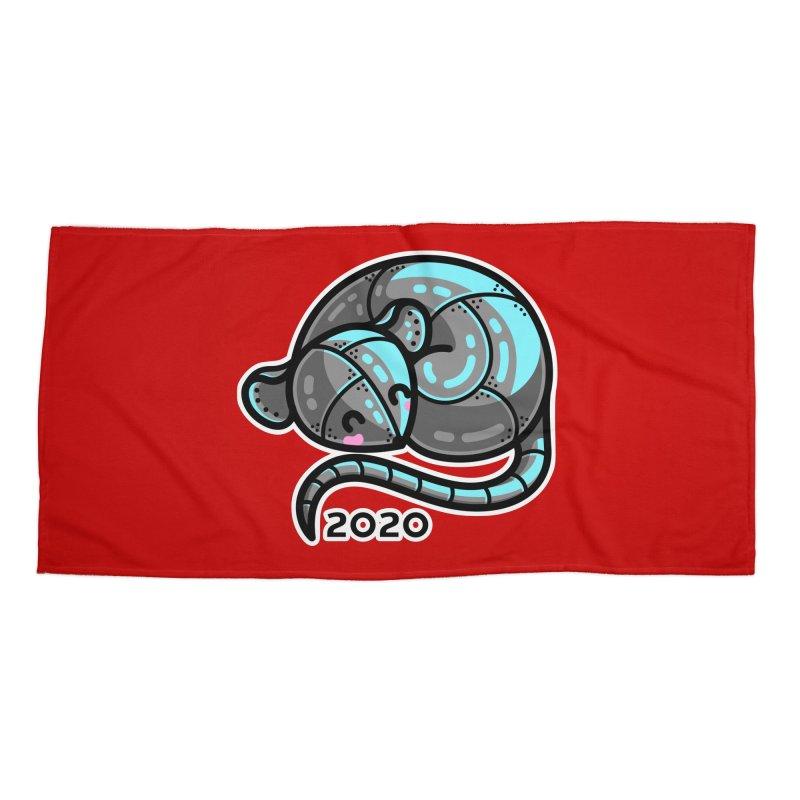 Kawaii Cute Curled Metal Rat 2020 Accessories Beach Towel by Flaming Imp's Artist Shop