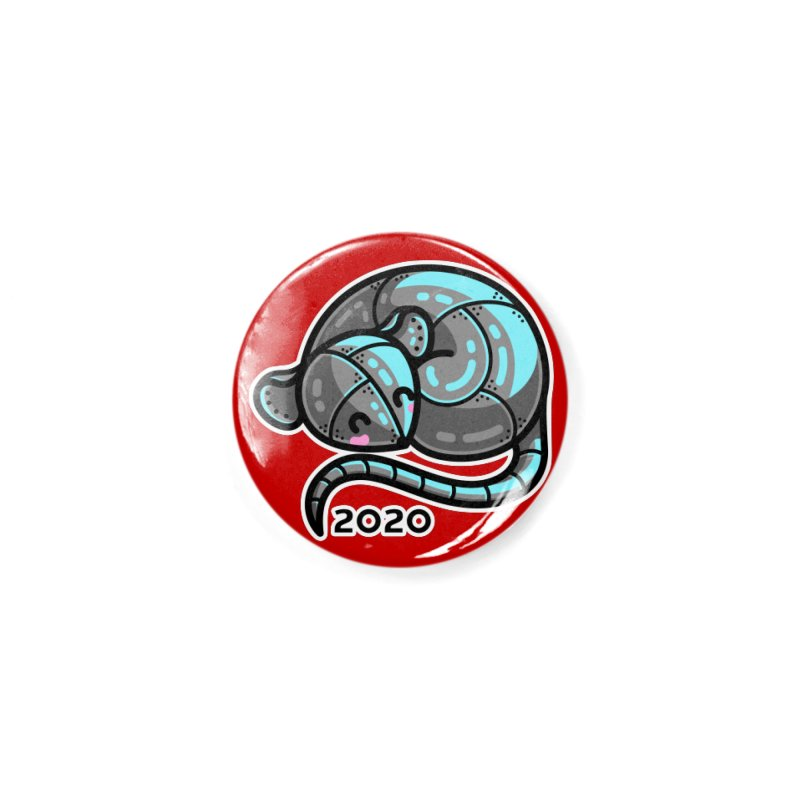 Kawaii Cute Curled Metal Rat 2020 Accessories Button by Flaming Imp's Artist Shop