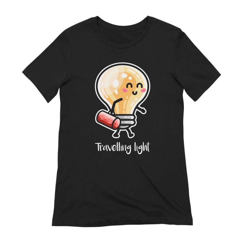 Kawaii Cute Travelling Light Pun Women's T-Shirt by Flaming Imp's Artist Shop