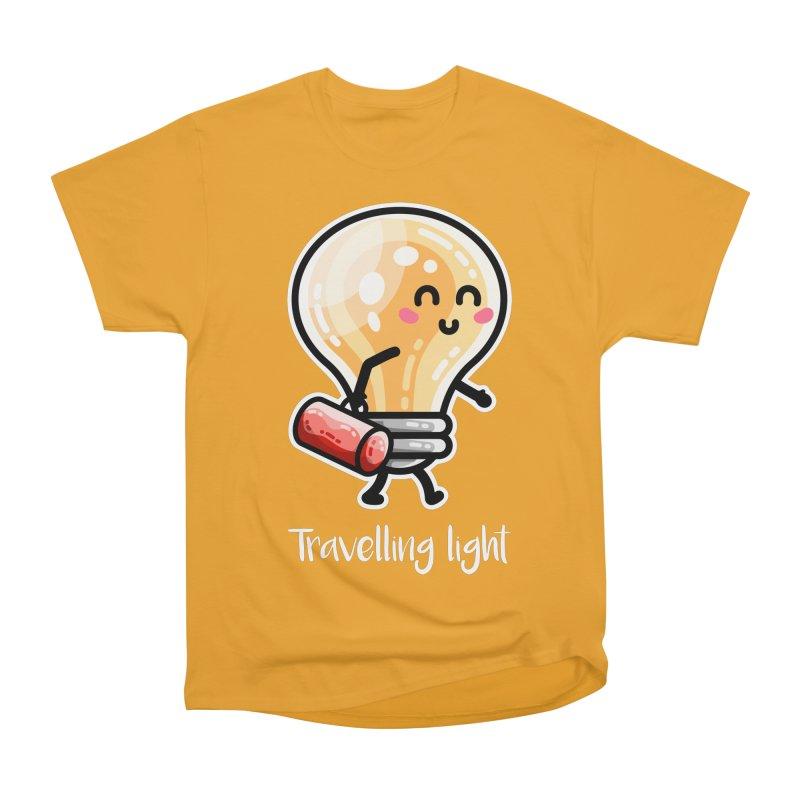 Kawaii Cute Travelling Light Pun Women's Heavyweight Unisex T-Shirt by Flaming Imp's Artist Shop