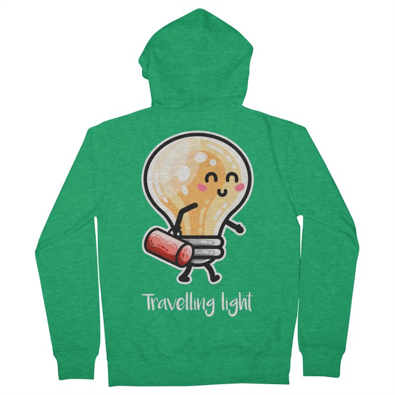 Kawaii Cute Travelling Light Pun Fitted Zip-Up Hoody by Flaming Imp's Artist Shop